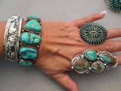 Phenomenal Navajo Old Pawn Sterling & Genuine Turquoise Cuff Bracelet>> 5 Vivid Blue Large Stones! > Heavy> Signed> Gorgeous!