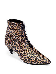 Saint Laurent Cat Leopard-Print Lace-Up Ankle Boots