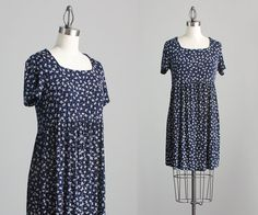 90s Vintage Navy Blue And Ivory Mini Dress / Floral by decades, $36.00