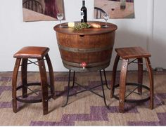 "Furniture made of old wine barrels.  Love it!         ""Half Barrel with a commercial liner on a wrought iron base. Features working brass drain faucet and rough sawn top hinge for easy access.    Some 800,000 oak barrels are produced annually, many of them ending up in gardens as planters or simply destroyed. We estimate we have saved approximately 15,000 barrels from this ultimate end."""