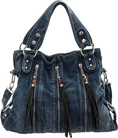Blue Fade-Wash ''Tasseled Zip'' Crossbody Convt. Tote Bag
