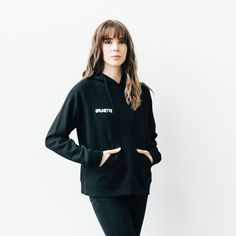 """BRUNETTE chain stitch """"middle sister"""" hoodie in black"""
