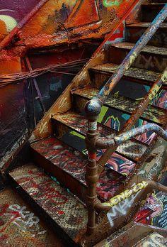 graffiti stairs abandoned