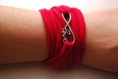 INFINITY LOVE charm Wrap Wrist Cuff RED Endless Love Stretch Wrist Bracelet Fashion accessory Women Teens Wrist Tattoo Cover