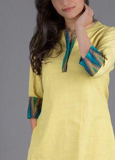 Butterscotch Yellow Handwoven Cotton Ensemble with Ikat Plain Kurti Designs, Short Kurti Designs, Simple Kurti Designs, New Kurti Designs, Salwar Designs, Kurta Designs Women, Kurti Designs Party Wear, Pakistani Dresses Casual, Indian Fashion Dresses
