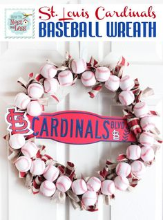 @Tabitha Benson, this so reminds me of you :)   team mom present. •8 packages of foam pool baseballs from the Dollar Tree *Wire wreath form *Fabric scraps* STL Cardinals necklace *STL Cardinals plastic mini street sign* Hot glue gun* Ribbon - Click image to find more Holidays & Events Pinterest pins