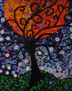 Framed Quilled Paper Orange Green Purple Tree Sun Moon ORIGINAL 16 X 20. $1,650.00, via Etsy.------Wow, that's expensive. It would take a lot of patience, but I think I could pull this off.