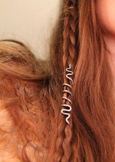 Long Snake Hair Bead  Viking hair beads  Beard by LoitsuCrafts