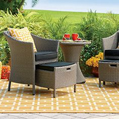 Sanibel 5 Piece Resin Wicker Patio Seating Set ($400) ❤ liked on Polyvore featuring home, outdoors, patio furniture, outdoor patio sets, black wicker outdoor furniture, black wicker patio furniture, black armchair, gray end table and gray armchair