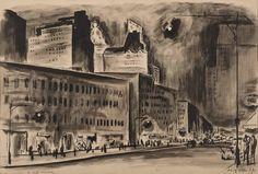 Adolf Arthur Dehn. On Eighth Avenue, 1920s. Graphite.