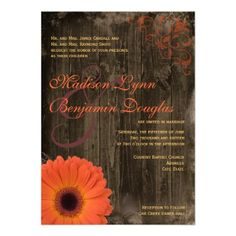 Rustic Country Daisy Barn Wood Wedding Invitations