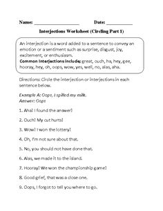 Interjections Worksheet Circling Part 1 Beginner