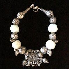 Original necklace Glass 16th c. moonstone beads, 19th c. Yemeni, and Turkmen silver