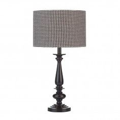 Truman TRU4222 1 Light Table Lamp, Dar Lighting. Black hand cast resin based table lamp with a light sheen finish. Available with or without black and white check cotton shade. Operated by an in line rocker switch.  Double Insulated (Class II)  1 x 60w E27 (ES) GLS bulbs (Not Included)  Height: 400mm  Diam: 150mm £65.00