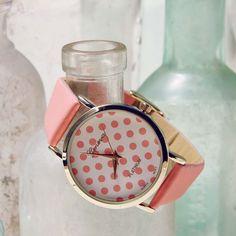 Peach Dots Watch, Women's Sweet Bohemian Jewelry