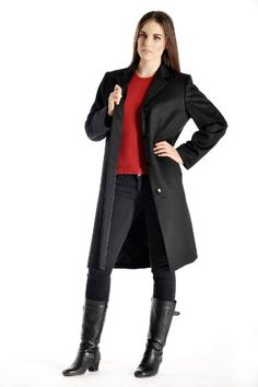 Women's Knee Length Overcoat in Pure Cashmere (Black, 6)
