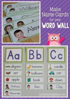 Make name cards for your early childhood classroom word wall or for other preschool name activities with these templates.