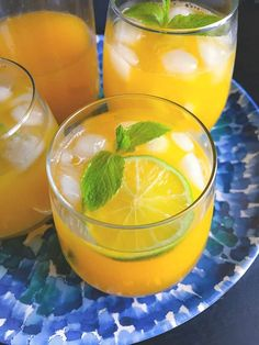 Iced Mango Mint Green Tea (Turmeric Green Ice Tea) (GF+V) Mango Green Tea, Mint Green, Mango Lemonade, Iced Tea, Summer Drinks, Turmeric, Matcha, Smoothie Recipes, Orange