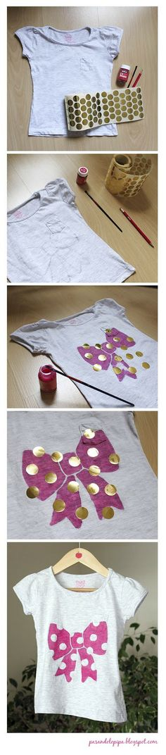 Lazo sobre camiseta (pintura textil) www.pasandolopipa.blogspot.com