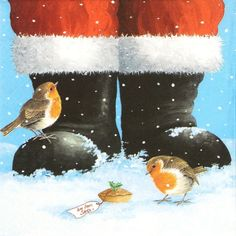 4 Single Table Paper Napkins for Party Decoupage Decopatch Craft Robins & Santa