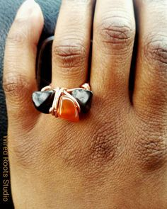 Carnelian agate and obsidian multi stone ring. Chunky and eclectic! Love it.  Check out this item in my Etsy shop https://www.etsy.com/listing/501250041/gemstone-ring-carnelian-agate-obsidian