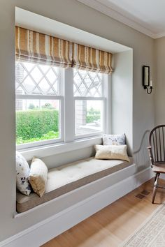 Harbor View Window Seat - Traditional - Living Room - boston - by . Modern Interior Design, Interior Architecture, Home Decor Bedroom, Living Room Decor, Bedroom Beach, Master Bedroom, Bedroom Windows, Window Curtains, Bay Windows