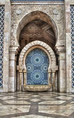 Water fountain of King Hassan II Mosque ~ Casablanca, Morocco | Flickr - Photo by Bionda.romberg