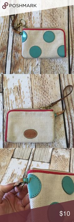 "Fossil vinyl canvas look wristlet Fossil vinyl canvas look wristlet with leather strap 6.5"" x 4.5"" Bags Clutches & Wristlets"