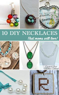 10 DIY Necklace Ideas that Mom will love. Instead of spending a lot of money on store bought gifts try one of these DIY crafts. Each one has an easy step-by-step tutorial!