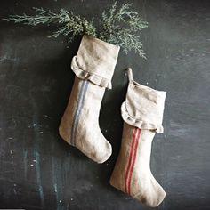 Linen Christmas Stockings, Set of 2