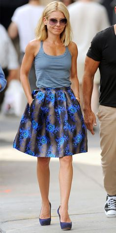 On the streets of New York City, Ripa was snapped wearing a tank, a bold floral skirt and purple pumps.