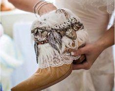 Gypsy bridal boots | Etsy Boots Boho, Gypsy Boots, Cowgirl Boots, Bride Boots, Wedding Boots, Wedding Dress, Botines Boho, Festival Boots, Boot Jewelry