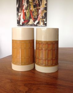 Two vintage one pint vacuum flasks - by Aladdin, USA. by myvintagecave on Etsy