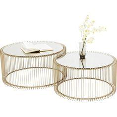 Tables basses wire laiton set de 2 kare design or Kare Design Wire Coffee Table, Round Coffee Table, Coffee Table Design, Coffee Set, Kare Design, Hanging Canvas, Low Tables, Mirror Set, Modern Table