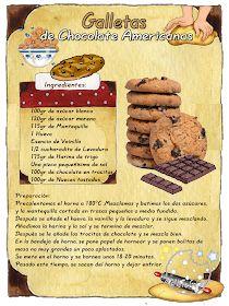 Tartas, Galletas Decoradas y Cupcakes: Cookies con Chips de Chocolate My Recipes, Sweet Recipes, Cookie Recipes, Dessert Recipes, Tea Cakes, Biscotti, Choco Chips, Vintage Recipes, Food Illustrations