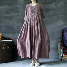 Aliexpress.com: Compre Rosa de meia manga plissado solto vestido de uma peça de confiança vestido de pontos fornecedores em Five Stars New Smart World.