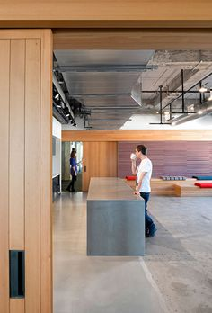 Exposed services & ceiling lights. Yelp Headquarters San Francisco by Studio O and A