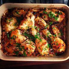 Best Ever Roast Chicken- soy sauce, red wine vinegar, brown sugar, garlic, olive oil.