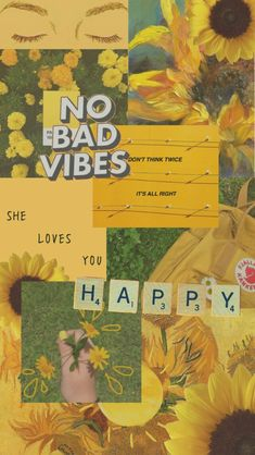 happy no bad vibes yellow green aesthetic mood board background wallpaper