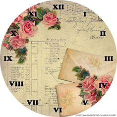 clock face by Lynne. Clock Printable, Printable Paper, Vintage Pictures, Vintage Images, Shabby Chic Clock, Motifs Roses, Cool Clocks, Decoupage Paper, Vintage Cards