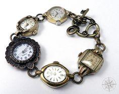 Steampunk Bracelet Vintage Wrist Watch by CompassRoseDesign