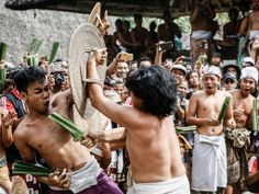 Bali celebrates festival of arts and war: Two Tengananese men fight each other using thorny pandanus leaves in Tenganan Pagringsingan Village, Karangasem. One of the rituals during the ceremony is a Pandanus War or 'Mekare Kare', where two Tengananese men duel using thorny pandanus as their weapon