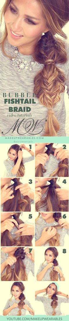 Easy bubble fishtail braid hairstyle - Cute Fall Hairstyles