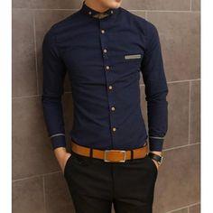 Slimming Shirt Collar Trendy Pocket Design Checked Stitching Long Sleeve  Men's Cotton Shirt