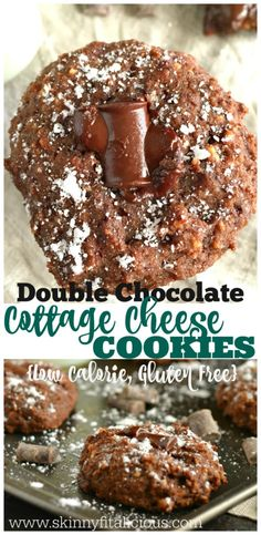 Rich & decadent Double Chocolate Cottage Cheese Cookies! These mouthwatering cookies are unsuspectingly delicious, gluten free and low calorie. A high protein strange, but good snack!