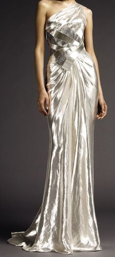 This stunning silver evening gown by Atelier Versace would make a striking wedding dress.