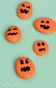 Painted Pumpkin Rock Craft - Halloween Craft - Easy Peasy and Fun