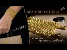 """Beading tutorial shows you how to make a Gold Beaded Bracelet """"Claire"""". Materials you need: Preciosa seedBeads Lobster Claw Clasp and OpenJump Rings; Beaded Cuff Bracelet, Beaded Bracelet Patterns, Beaded Earrings, Beaded Jewelry Designs, Bead Jewellery, Beading Techniques, Beading Tutorials, Bracelet Tutorial, Bead Jewelry"""