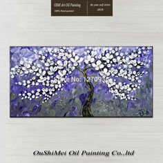 Hand-painted Modern Beautiful Purple Romantic Background White Petal Flower Knife Oil Painting on Canvas Home Art Decoration Love Wall Art, Love Art, Canvas Home, Wall Canvas, Art Pages, Colorful Pictures, Oil Painting On Canvas, Framed Art, Original Paintings