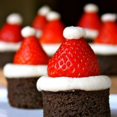These festive Santa Hat Brownies are sure to be a hit at your next holiday party!